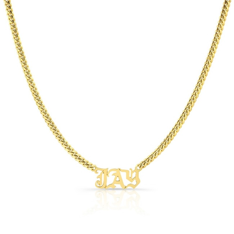 14k Yellow Gold Cuban Link Personalized Necklace