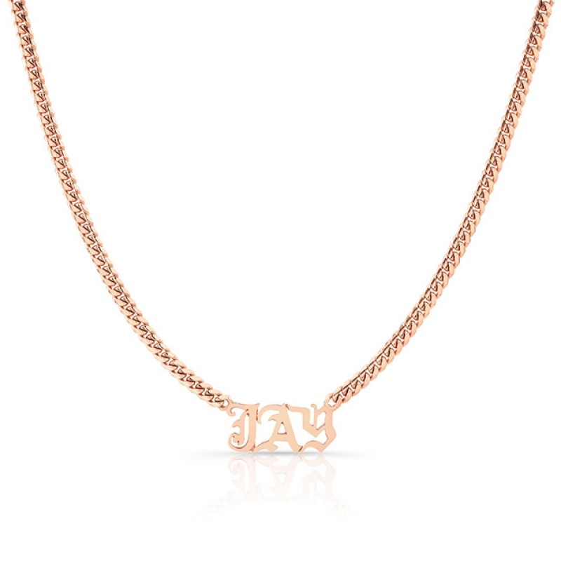 14k Rose Gold Cuban Link Personalized Necklace