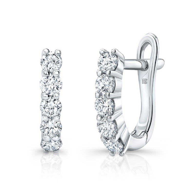 14k White Gold Diamond Eternity Huggie Hoops