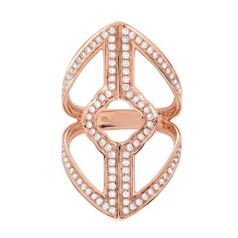 14k Rose Gold Diamond Shield Ring