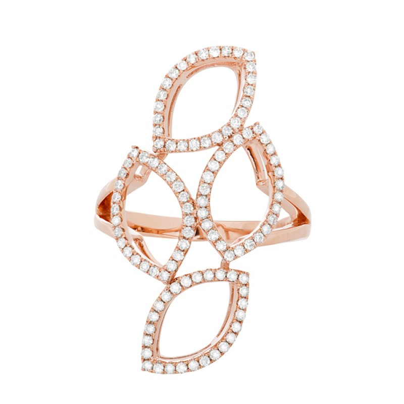 14k Rose Gold Diamond Stacked Marquise Ring