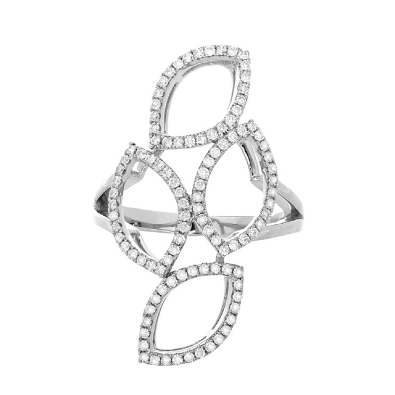 14k White Gold Diamond Stacked Marquise Ring