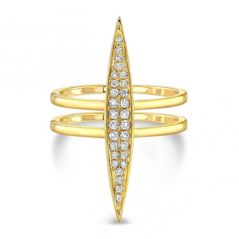 14k Yellow Gold Pave Diamond Marquise Bar Ring