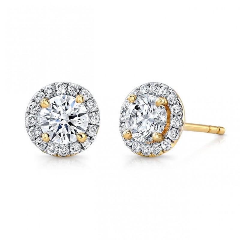 14k Yellow Gold Diamond Halo Stud Earrings