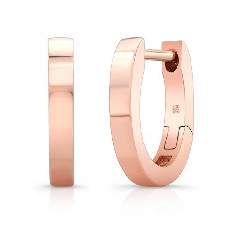 14K Rose Gold Huggie Hoops