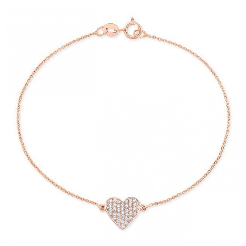 14k Rose Gold Diamond Floating Heart Bracelet