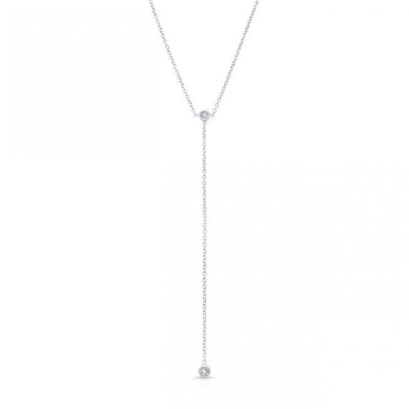 14k White Gold Diamond Bezel Lariat Necklace