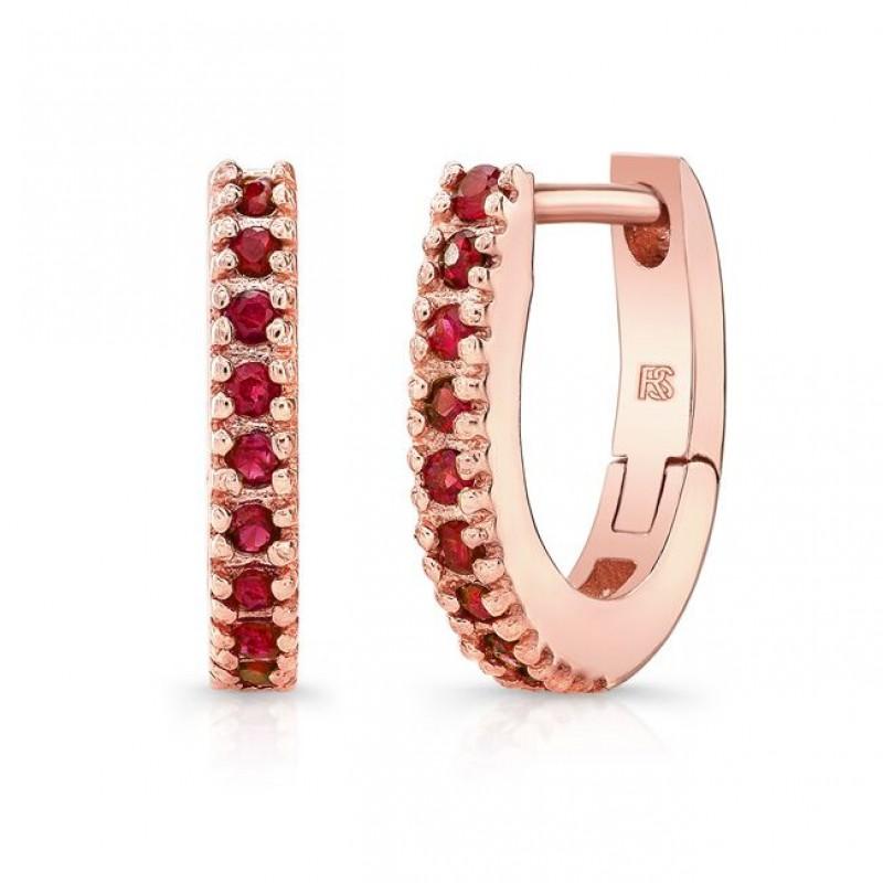 14K Rose Gold Ruby Huggie Hoops