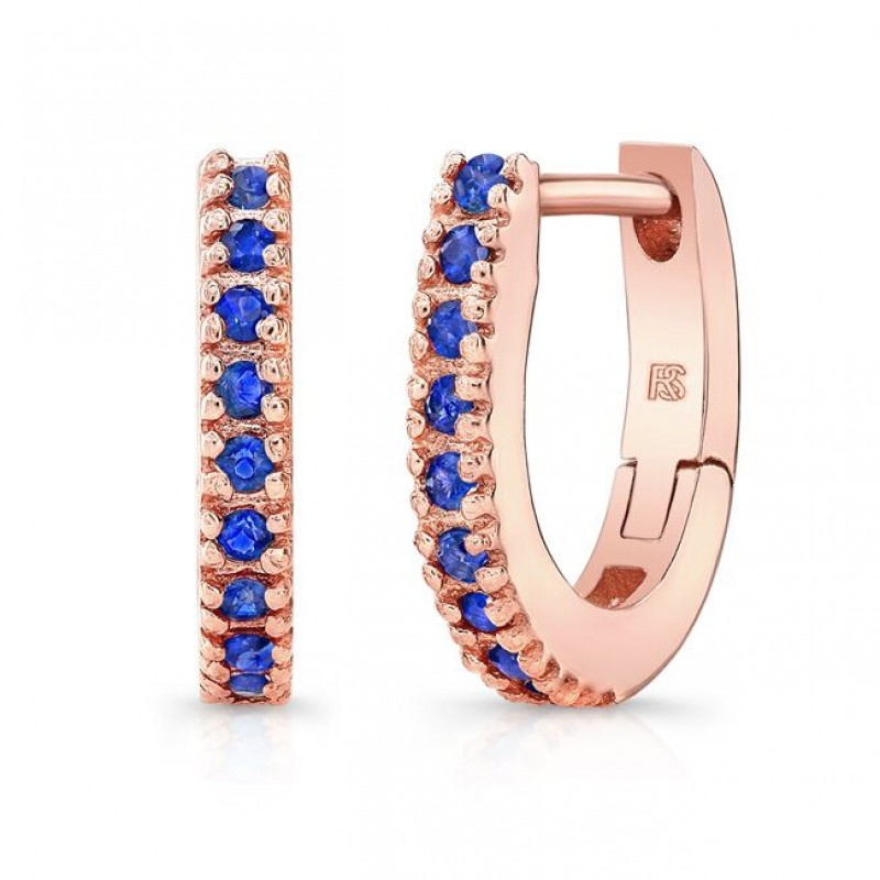 14K Rose Gold Blue Sapphire Huggie Hoops