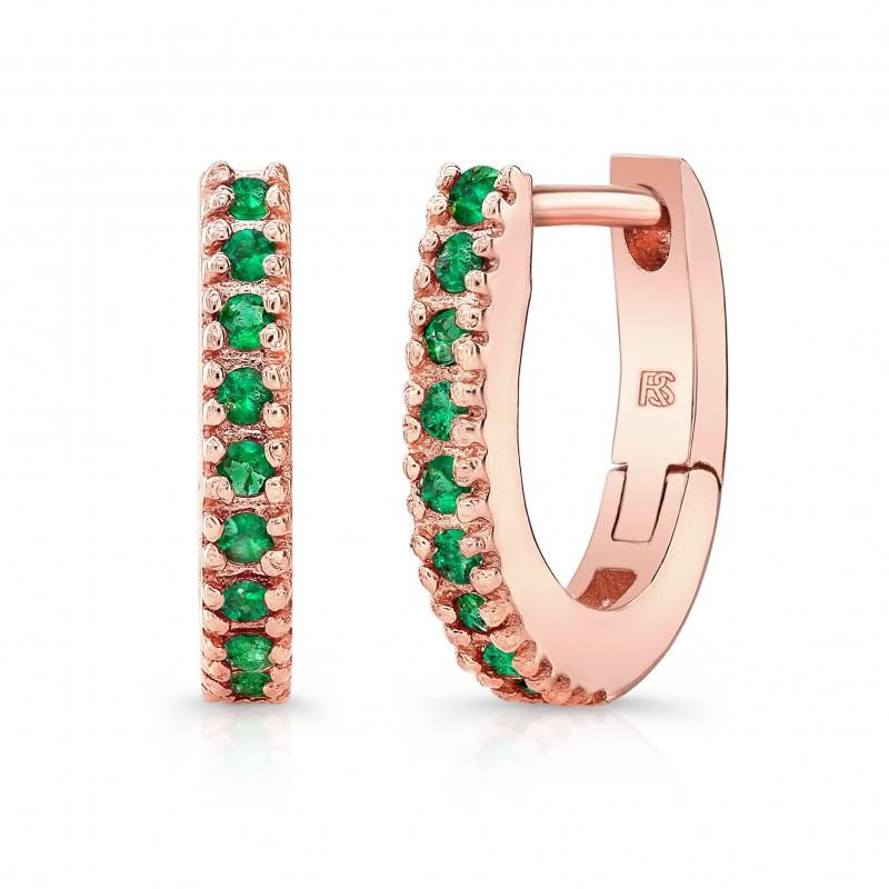14K Rose Gold Emerald Huggie Hoops