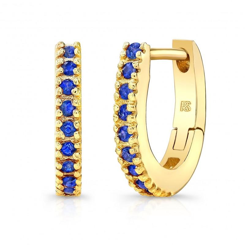 14K Yellow Gold Blue Sapphire Huggie Hoops