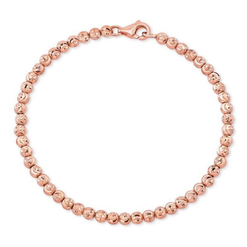 14k Rose Gold Diamond Cut Bead Bracelet