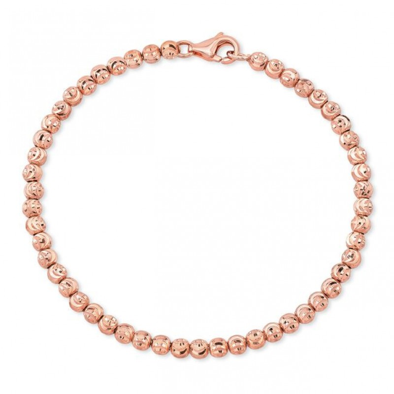 Men's 14k Rose Gold Diamond Cut Bead Bracelet