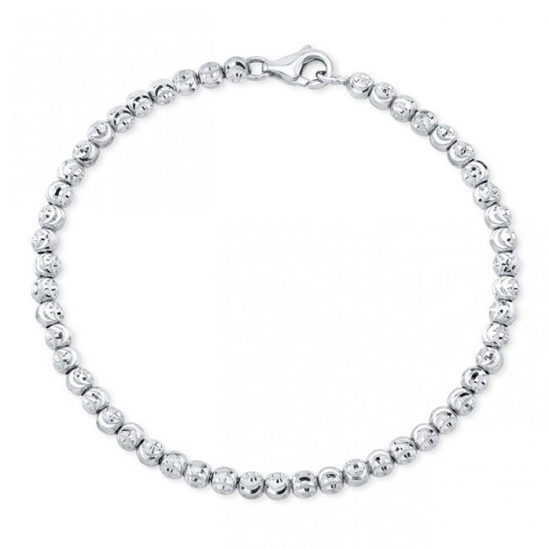 Men's 14k White Gold Diamond Cut Bead Bracelet