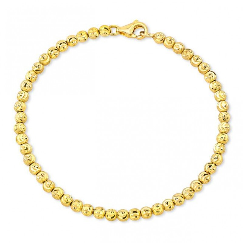 14k Yellow Gold Diamond Cut Bead Bracelet