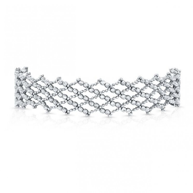 3086fa4f359bd 14k White Gold Diamond Cut Crosshatch Choker