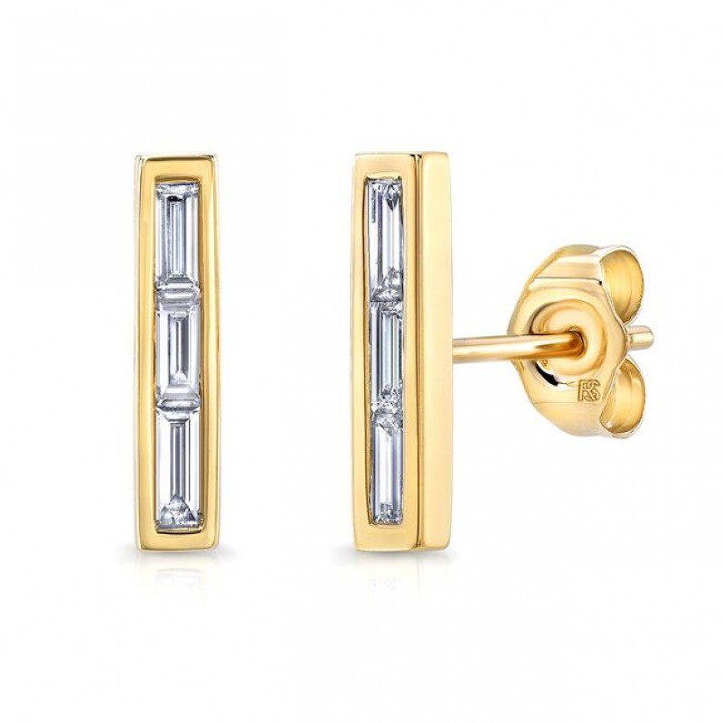 14k Yellow Gold Diamond Baguette Bar Stud Earrings