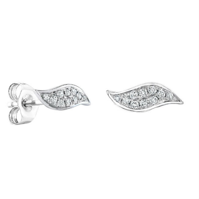 14k White Gold Diamond Wave Stud Earrings