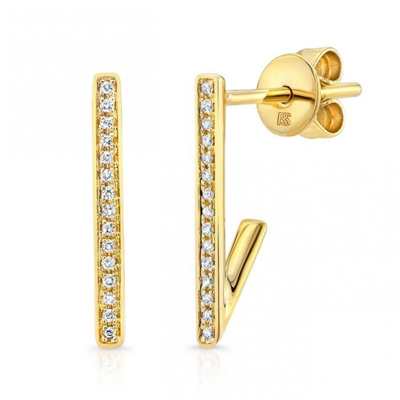 14K Yellow Gold Diamond Huggie Bar Earrings
