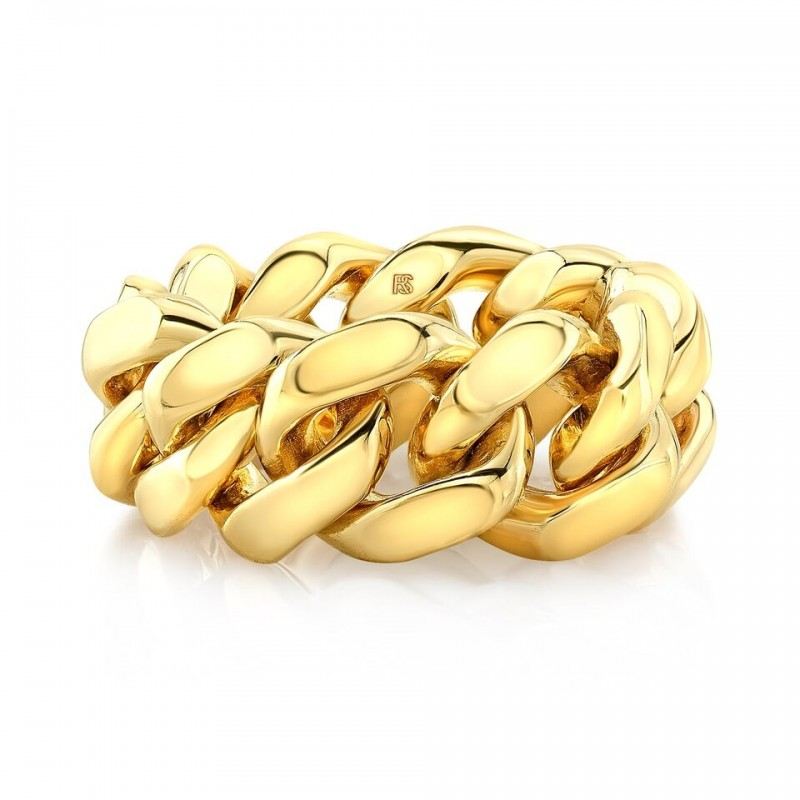 14k Yellow Gold Chain Cuban Link Ring