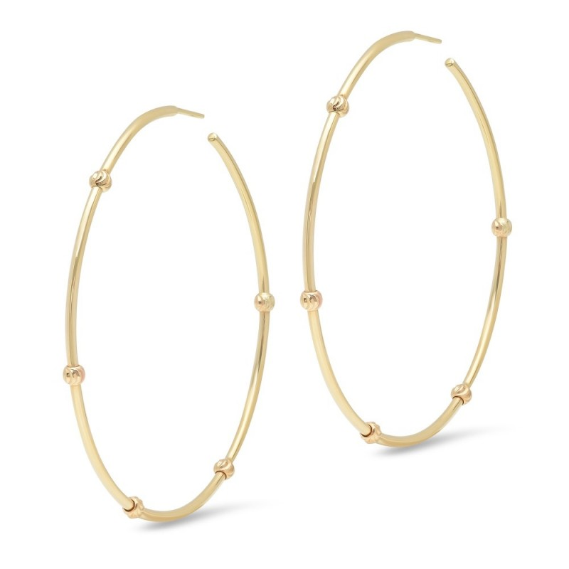 "14K Yellow Gold 2"" Diamond Cut Bead Hoop Earrings"