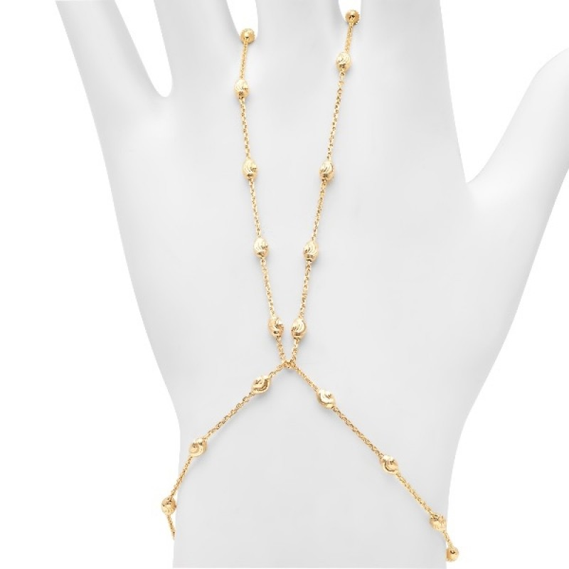 14k Yellow Gold Diamond Cut Bead Hand Chain