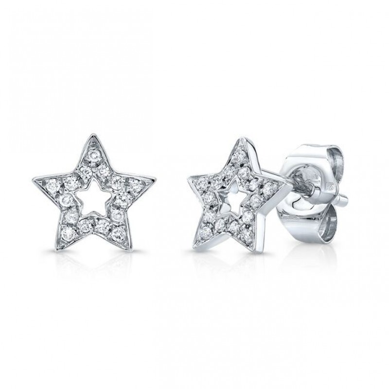 14k White Gold Diamond Cut Out Star Stud Earrings