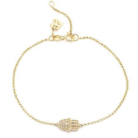 14k Yellow Gold Diamond Hamsa Hand of Fatima Bracelet