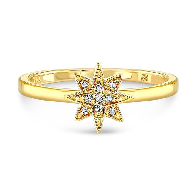 14k Yellow Gold Diamond Mini Starburst Ring