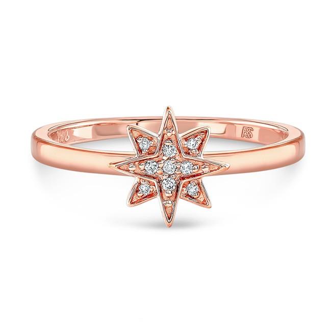 14k Rose Gold Diamond Mini Starburst Ring