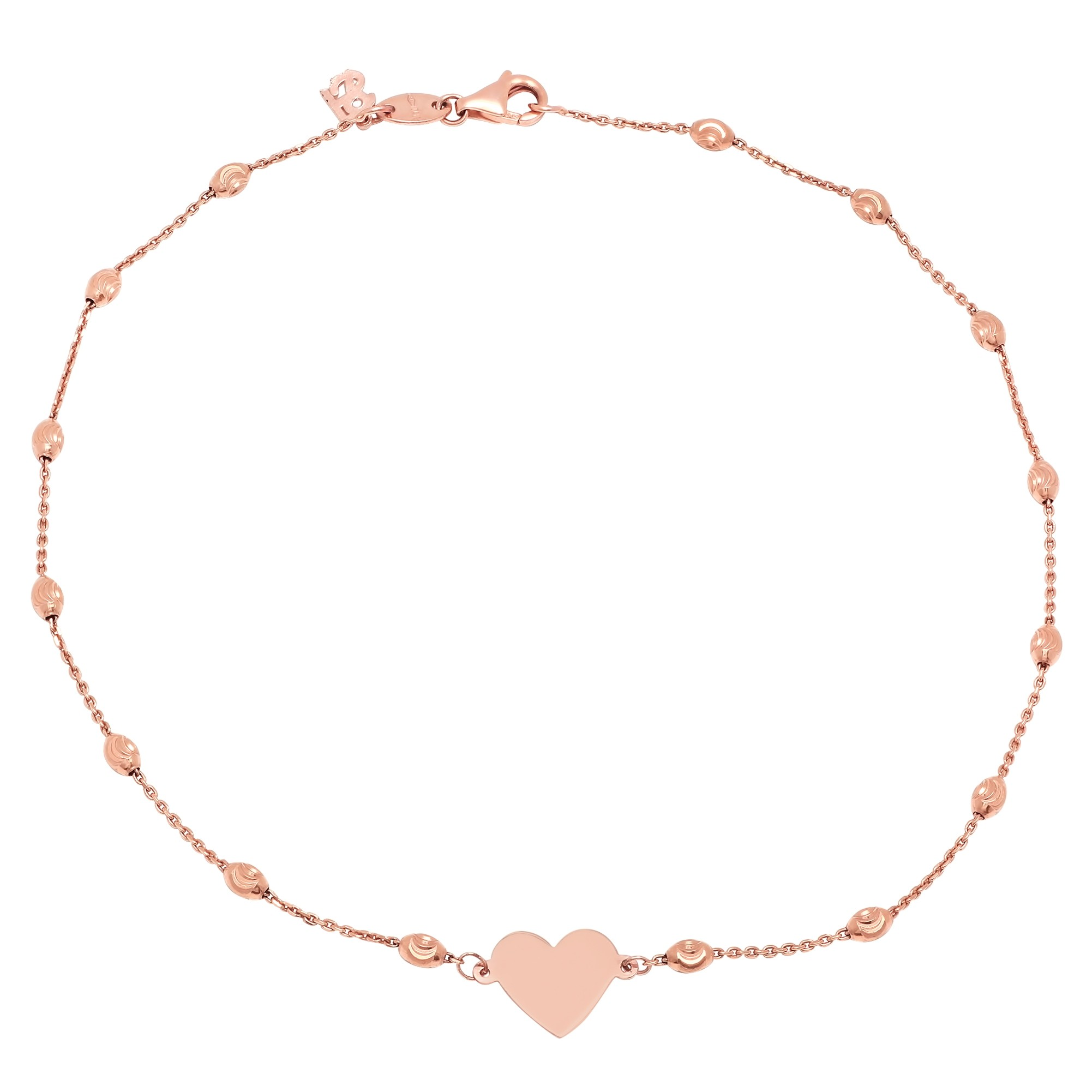 14k Rose Gold Floating Heart Beaded Chain Anklet