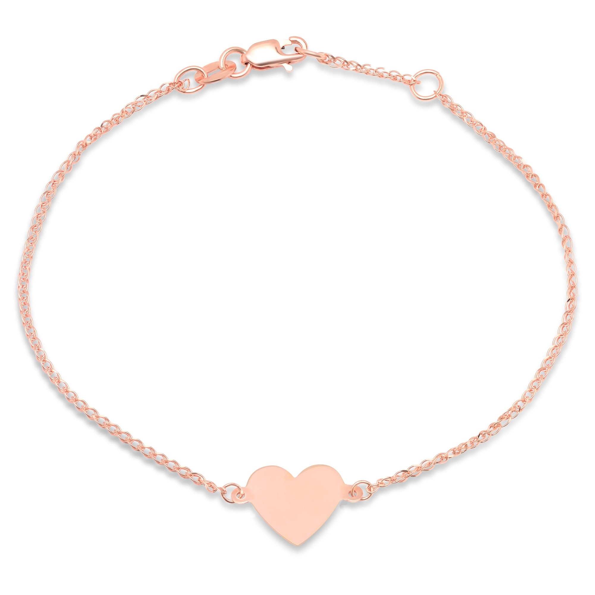 14k Rose Gold Floating Heart Bracelet
