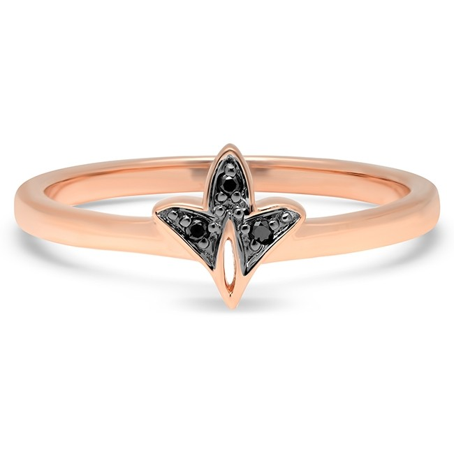 14k Rose Gold Black Diamond Leaf Ring