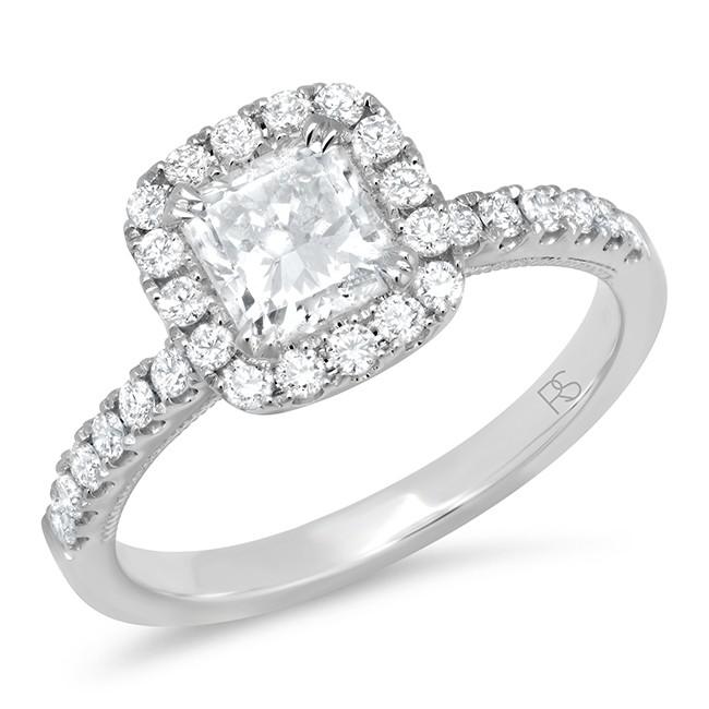 14k White Gold Diamond Halo Radiant Cut Engagement Ring