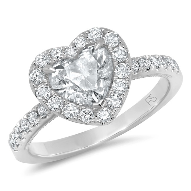 14k White Gold Diamond Halo Heart Cut Engagement Ring