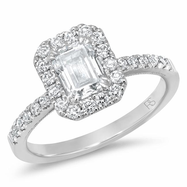 14k White Gold Diamond Halo Emerald Cut Engagement Ring