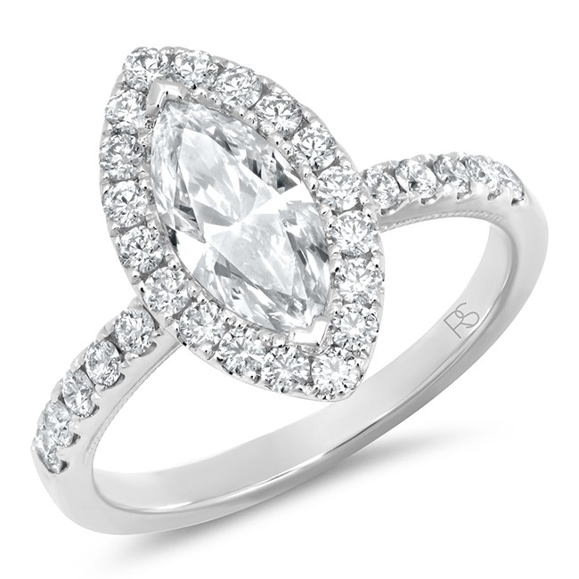 14k White Gold Diamond Halo Marquise Cut Engagement Ring