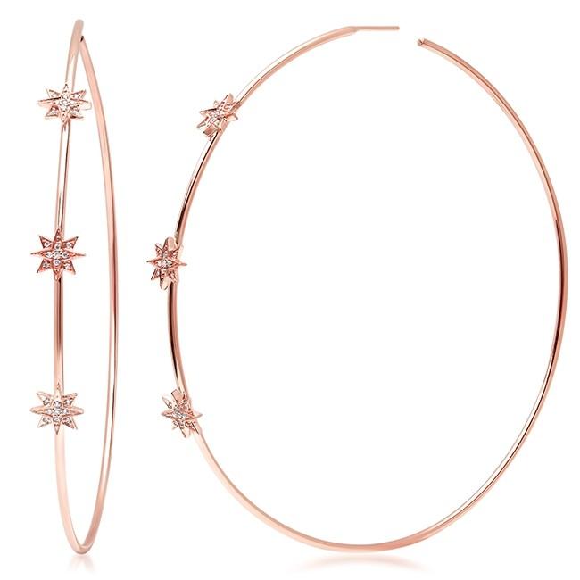 14K Rose Gold Diamond Starburst Hoop Earrings
