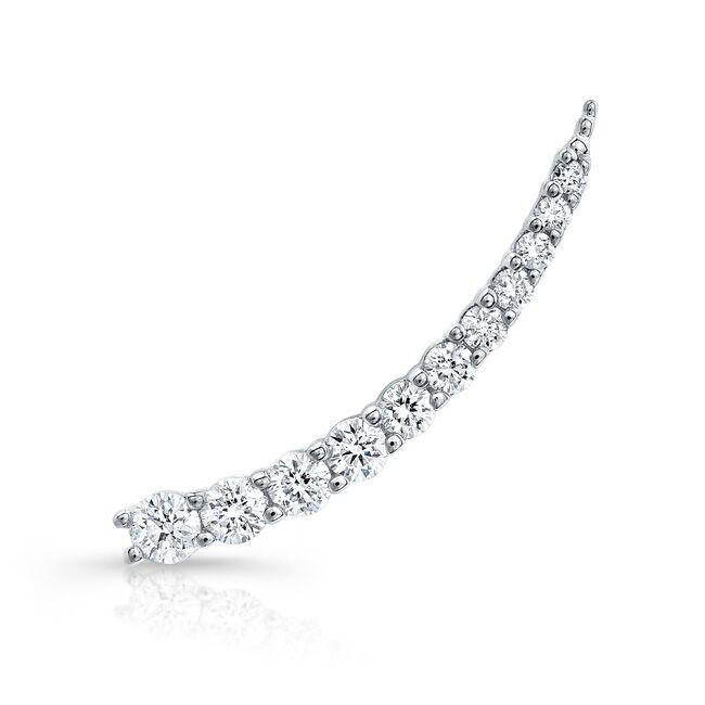 14k White Gold Floating Diamond Ear Crawler Earring