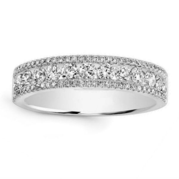 14k White Gold Diamond Pave and Channel Ring