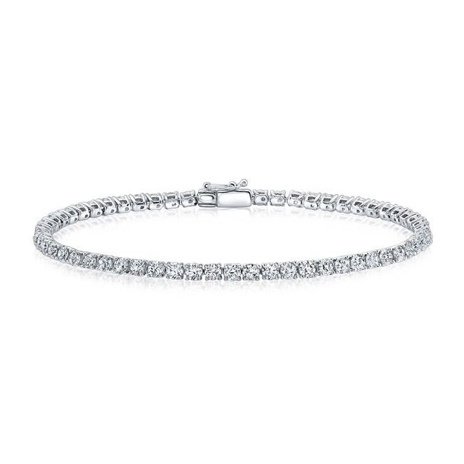 14k Gold 4 Prong 3CT Diamond Tennis Bracelet