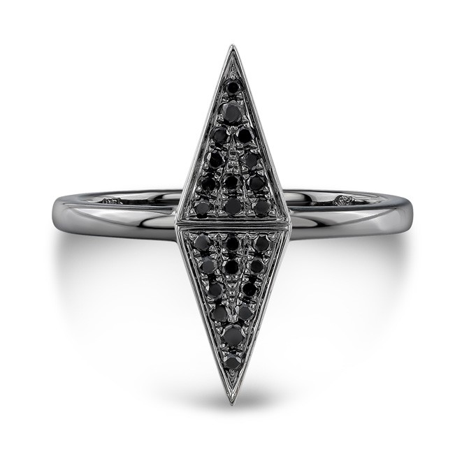 14k Black Gold Black Diamond Double Triangle Ring