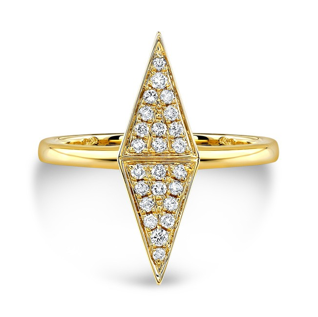 14k Yellow Gold Diamond Double Triangle Ring