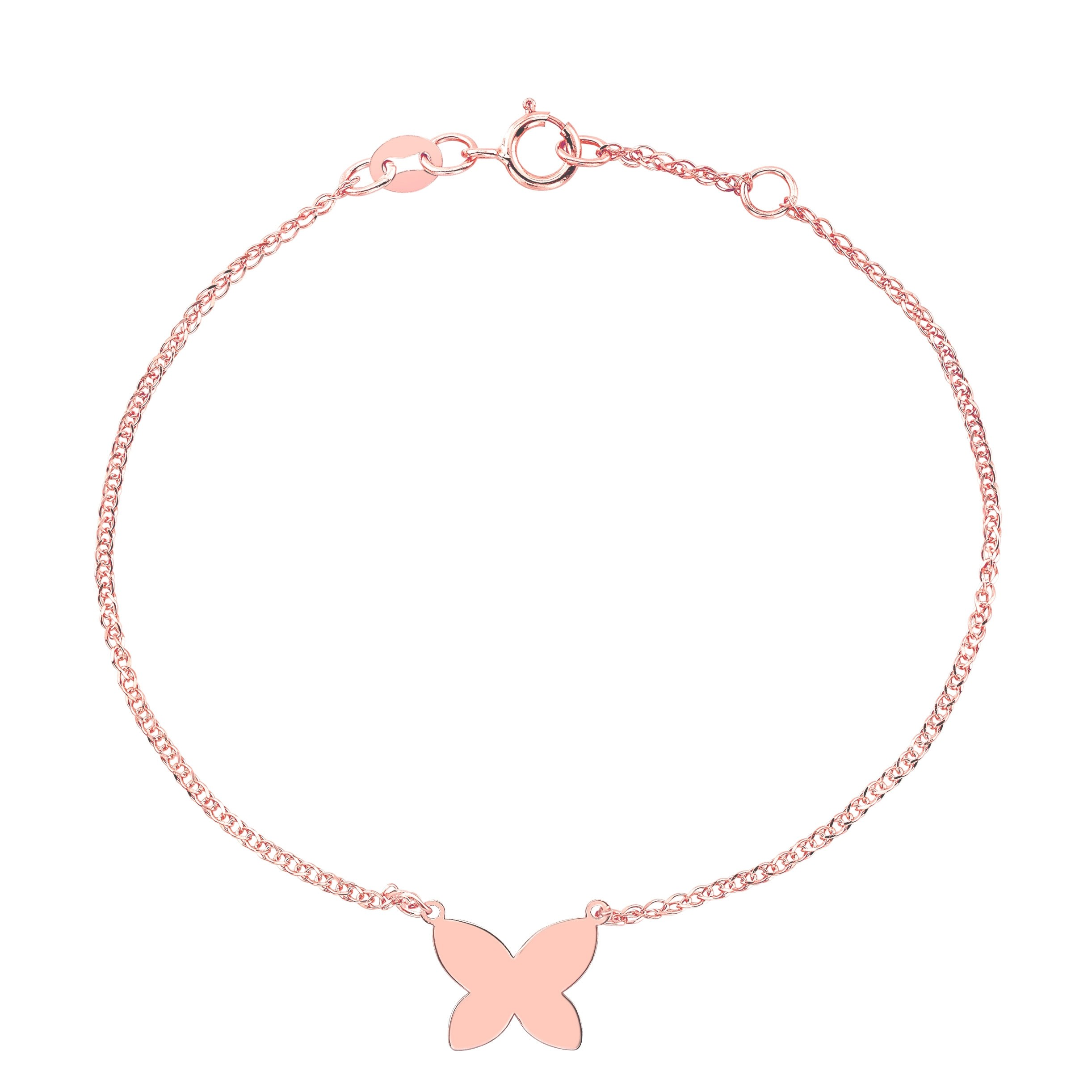 Kids' 14k Rose Gold Floating Butterfly Bracelet