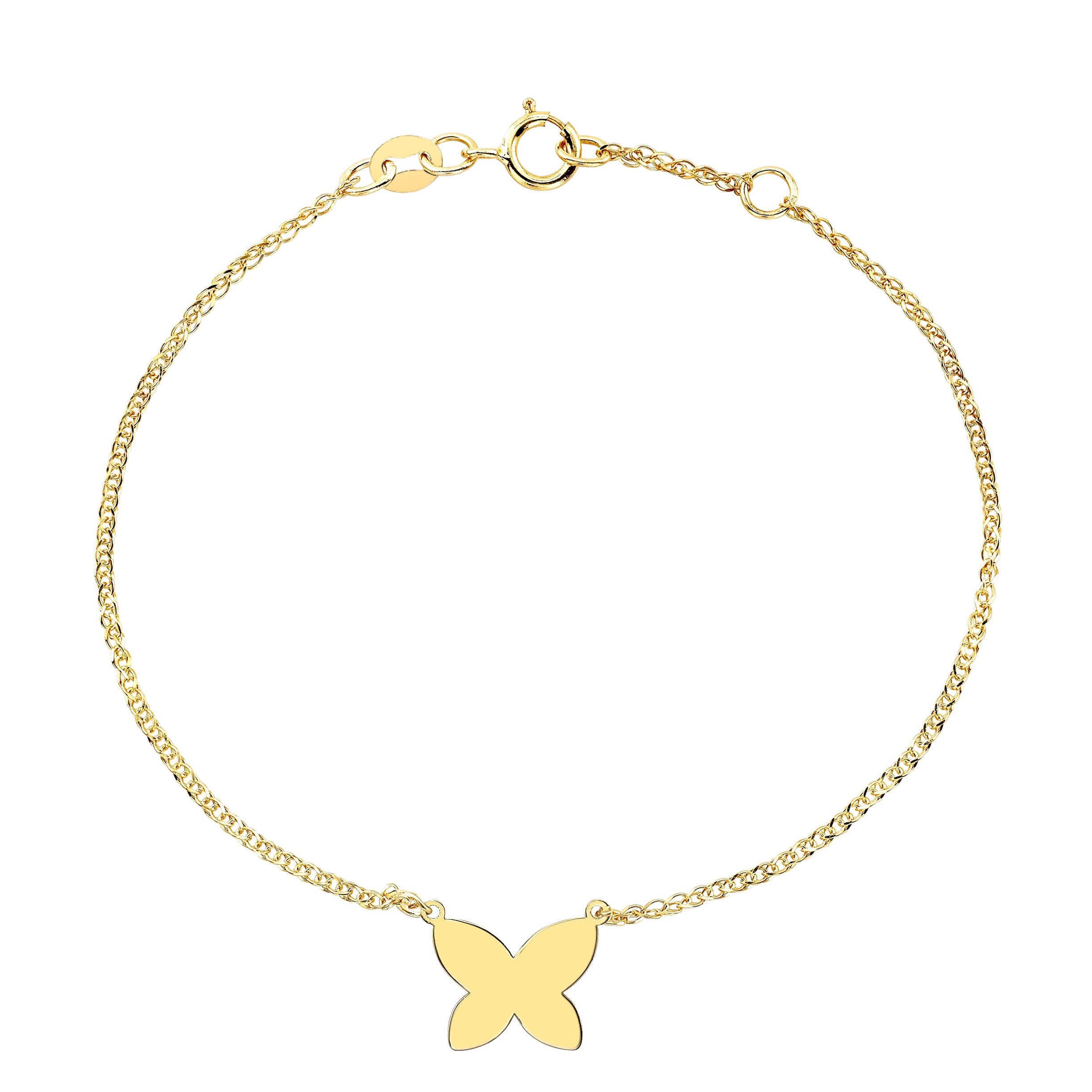14k Yellow Gold Floating Butterfly Bracelet