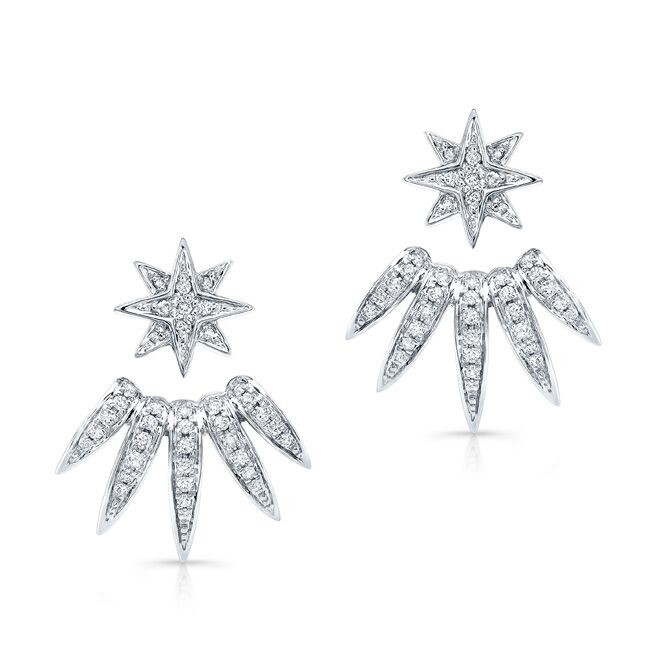 14k White Gold Diamond Spike Ear Jacket