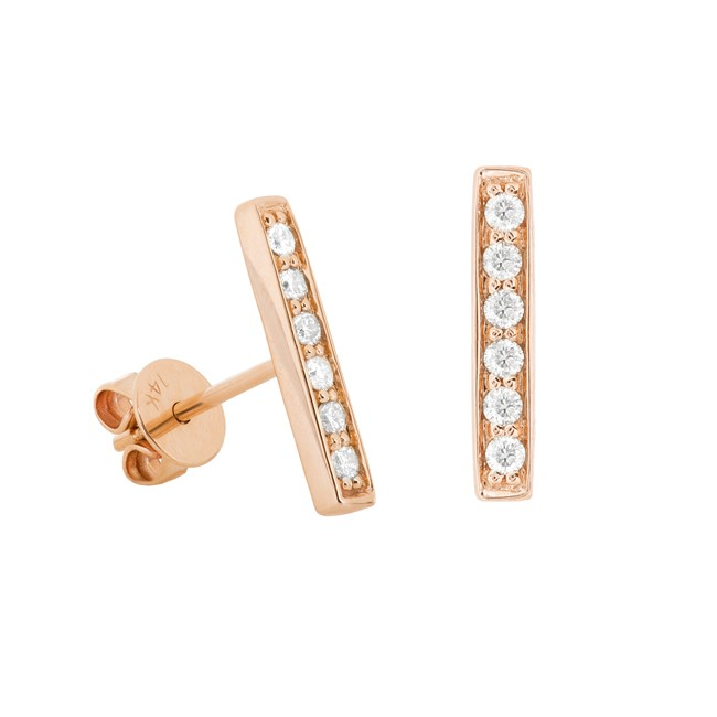 14k Rose Gold Diamond Pave Bar Stud Earrings