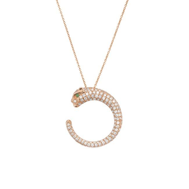 14k Rose Gold Diamond Emerald Panther Necklace