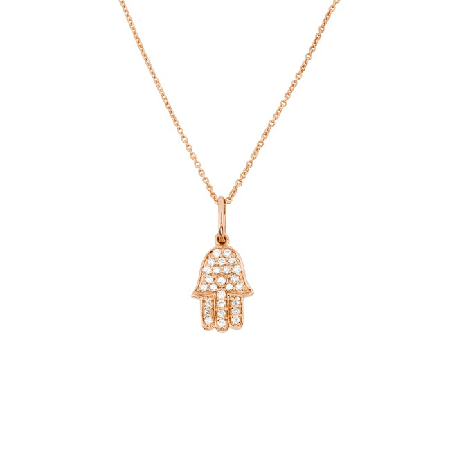 14k Rose Gold Diamond Hamsa Hand of Fatima Necklace