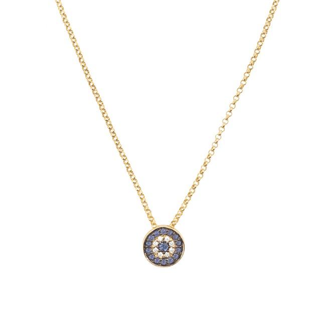 14k Yellow Gold Diamond Sapphire Evil Eye Disc Necklace
